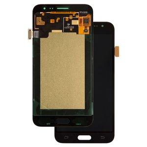 LCD Samsung J320 Galaxy J3 (2016), (black, with touchscreen, Original (PRC), dragontrail Glass, original glass)